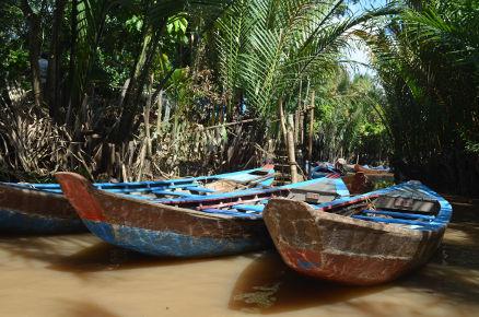 Sampan; Flussfahrt; Mekong; Palmen