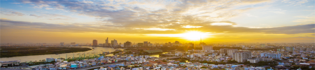Skyline von Saigon bei Sonnenuntergang