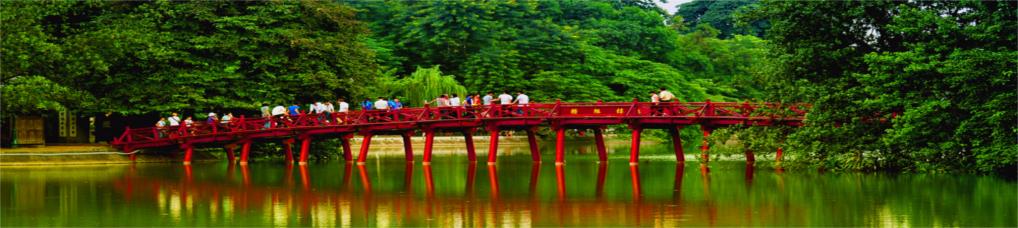 Rote Brücke auf dem Hoan Kiem See